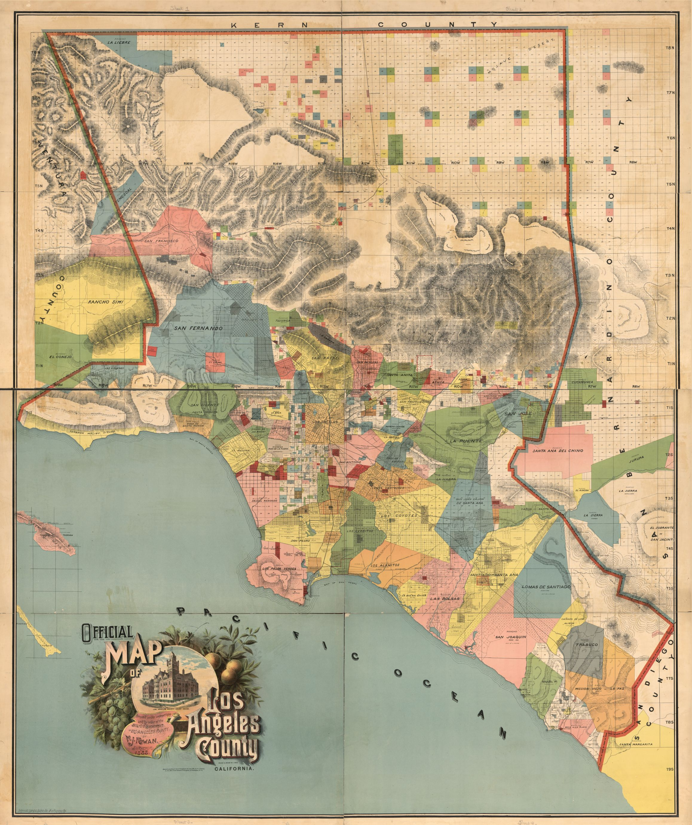 1888 map of Los Angeles County