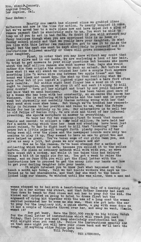 Aimee Sempe McPherson ransom note