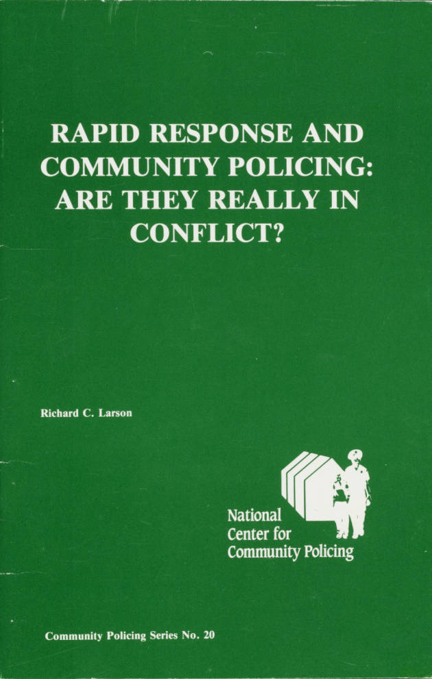 Rapid Response and Community Policing: Are They Really in Conflict? cover.   Los Angeles Webster Commission records, 1931-1992, USC Digital Libraries