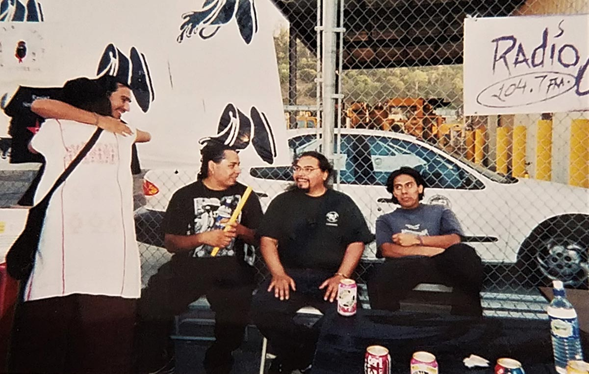 From left to right: DJ Bean from Aztlan Underground, Lupe, Yaotl from Aztlan Underground, Jose Maldonado, and Edgar Toledo at The Farce of July, 1999 | Courtesy of Edgar Toledo and Emily Martinez