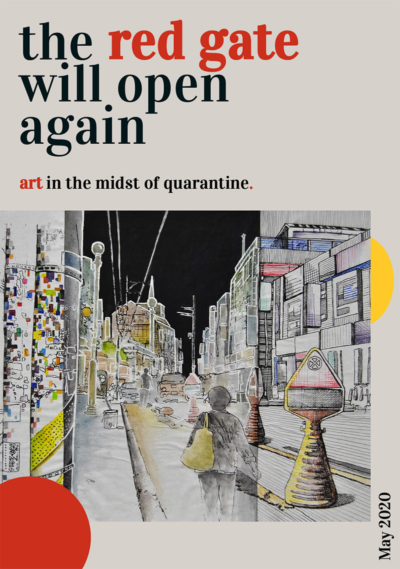 "The cover of ""The Red Gate will Open Again,"" an an interactive digital magazine made by  sixteen USC arts journalism students highlighting ways in which the arts are staying alive during quarantine. 