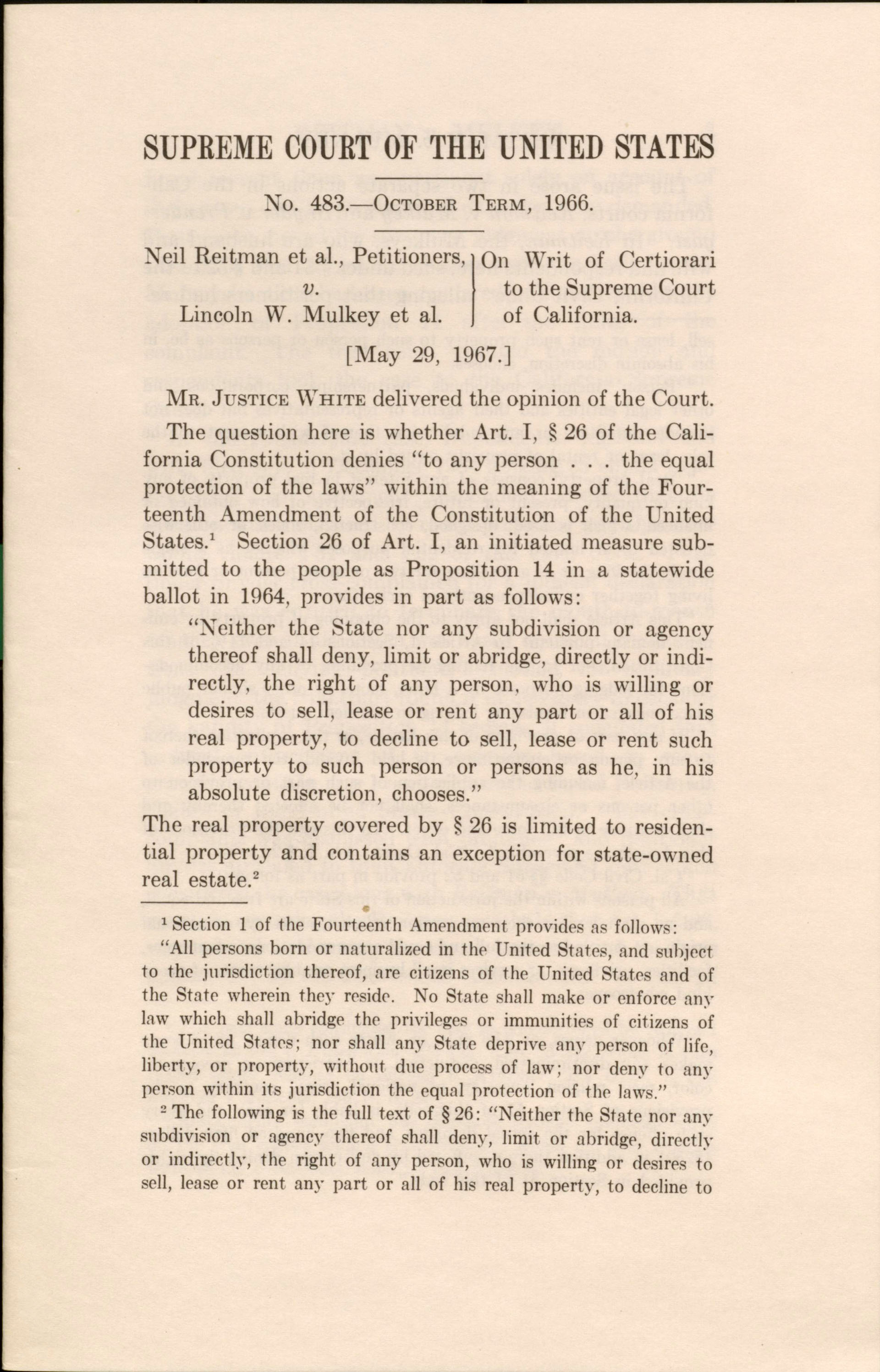 Reitman v. Mulkey Supreme Court decision, O.T. 1966, Thurgood Marshall Papers, Manuscript Division, Library of Congress