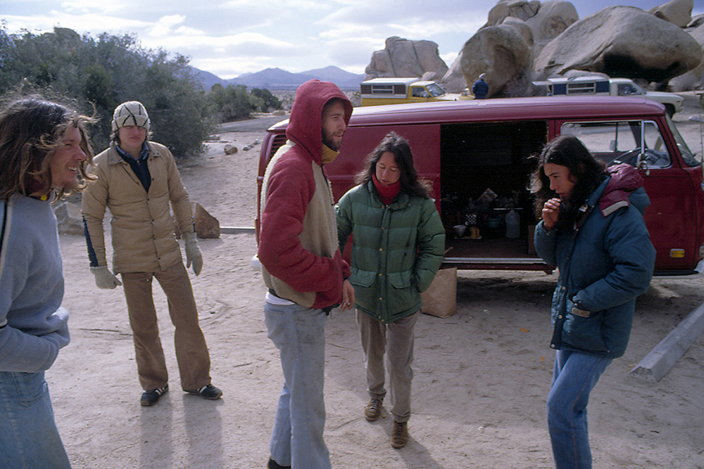 "(Left to right): John ""Yabo"" Yablonsky, unknown individual, Dean Fidelman, Jessica and Mari Gingery with John Bachar's red van in the background. 