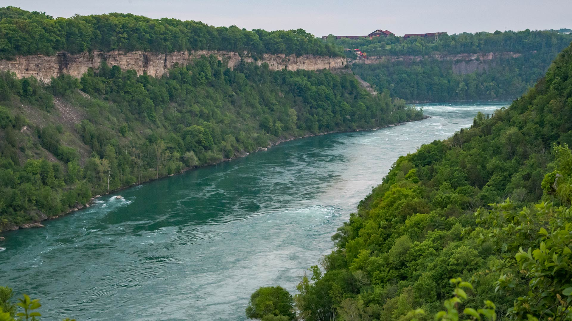 The Niagara River is seen west of the river on May 26, 2018 in Niagara-on-the-Lake and Niagara Falls, Ontario, Canada. | Photo by Patrick Gorski/NurPhoto via Getty Images