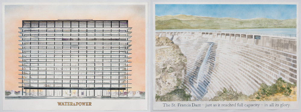 "Rob Reynolds, ""Photograph of the St. Francis Dam at Capacity,""(left) "" and ""Water and Power Building, 111 N. Hope St., L.A., CA 90012,"" (right) 2013."