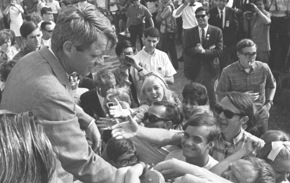 Robert F. Kennedy shaking hands with students in Garden Grove on June 3, 1968