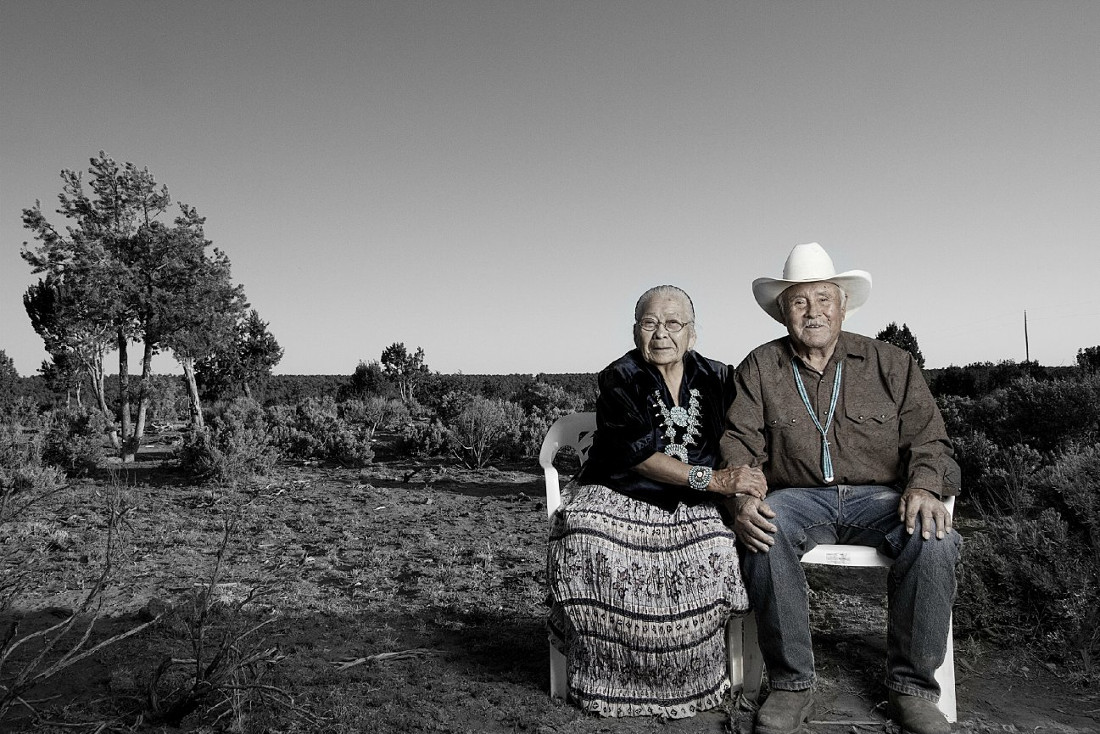 Robert and Fannie Mitchell (Dine). Photographed by Matika Wilbur for Project 562.
