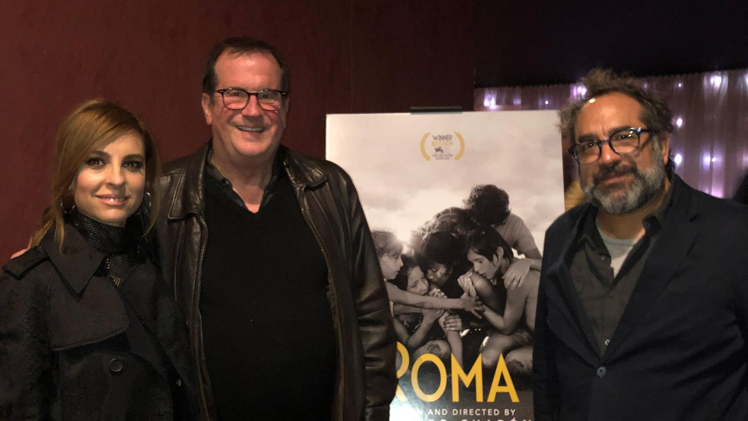 "Actor Marina De Tavira, Cinema Series host Pete Hammond and Production Designer Eugenio Caballero after a screening of ""Roma"""