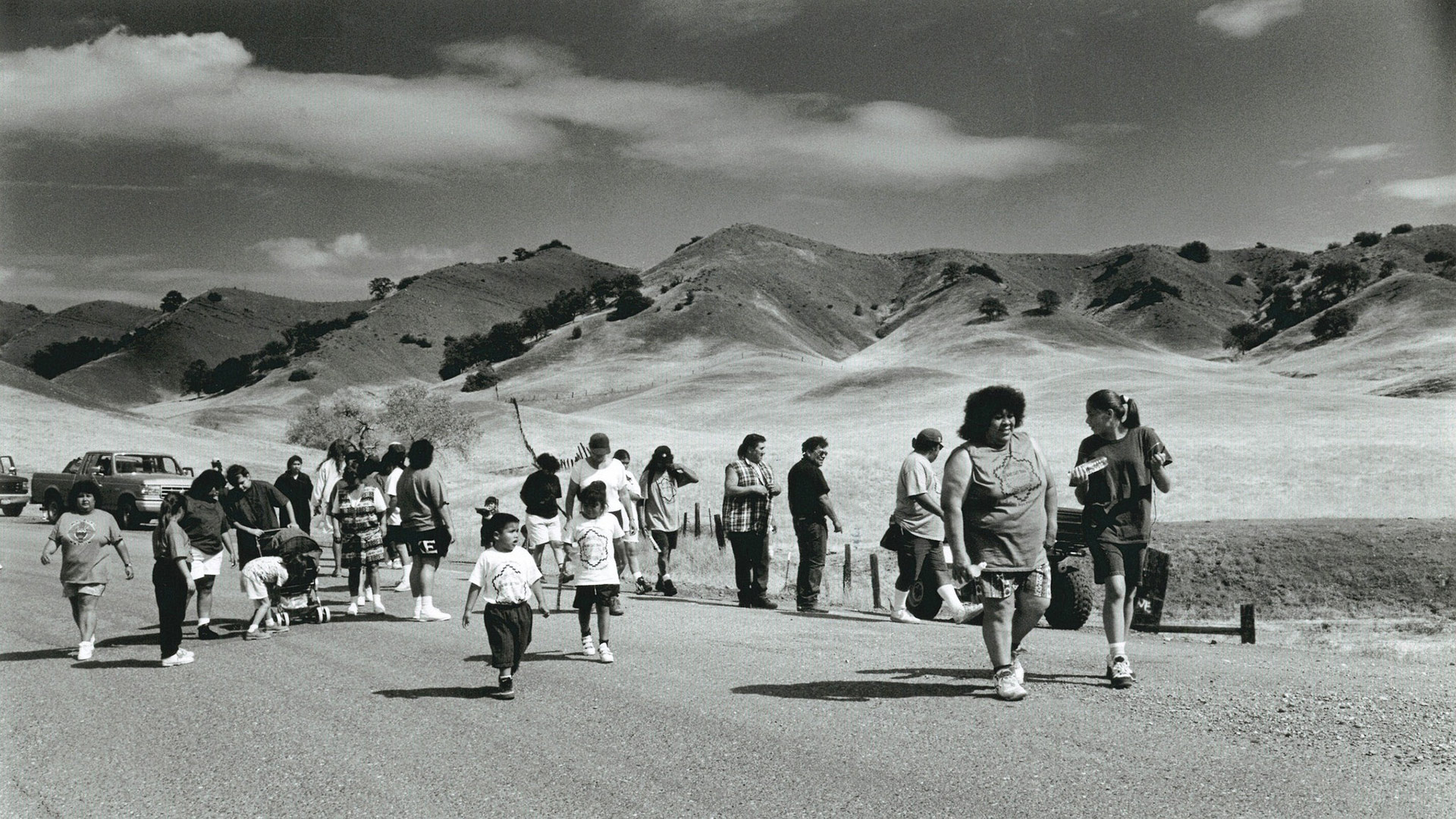 Members of the Round Valley Indian Tribe retrace the 1863 route of the Nome Cult walk, a forced relocation of Indians from Chico, Calif., to Covelo, CA. U.S. Forest Service photo.