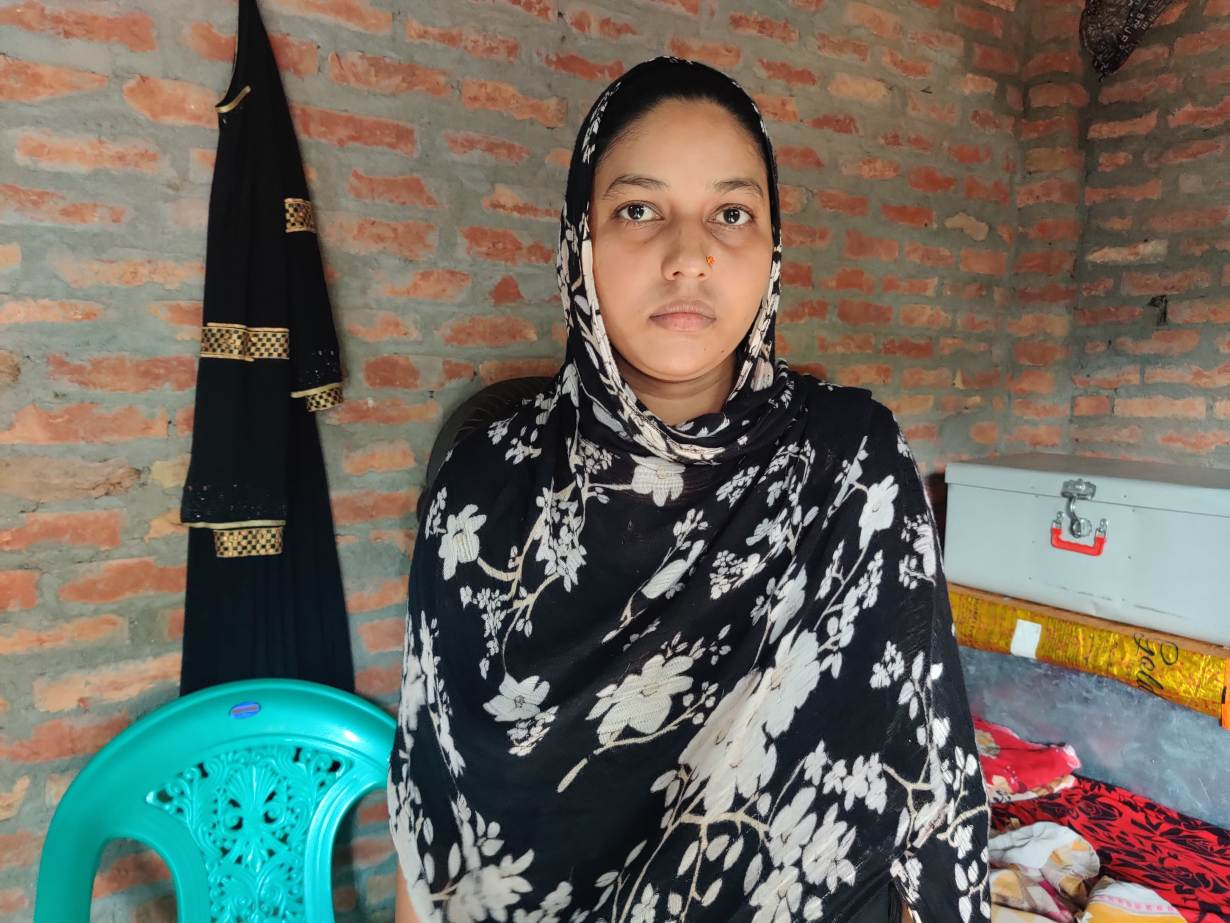 Mantasha Bano sits in her shanty in Atesua village, India on August 26, 2020.   Thomson Reuters Foundation/Saurabh Sharma