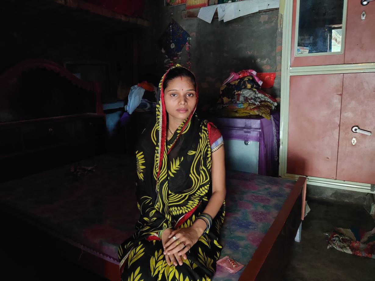 Sarita Gautam sits in her shanty in Atesua village, India on August 26, 2020.   Thomson Reuters Foundation/Saurabh Sharma