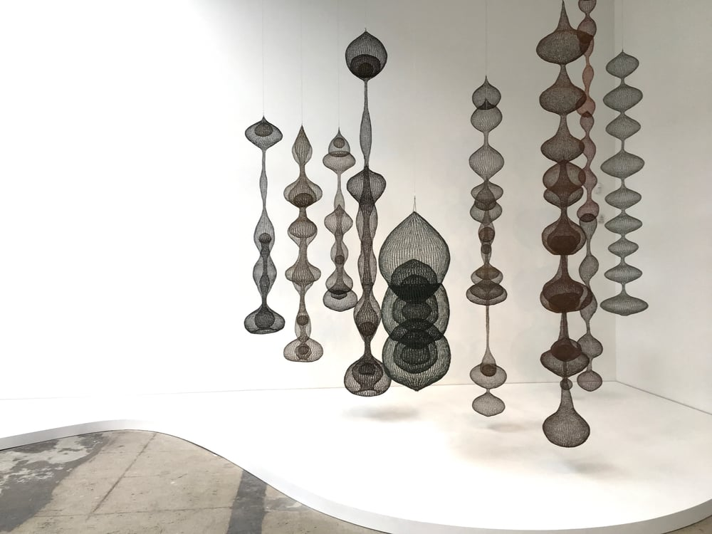 "Ruth Asawa installation with untitled sculptures, 1950-1962, in ""Revolution in the Making: Abstract Sculpture by Women, 1947-2016"" at Hauser Wirth & Schimmel in 2016. 