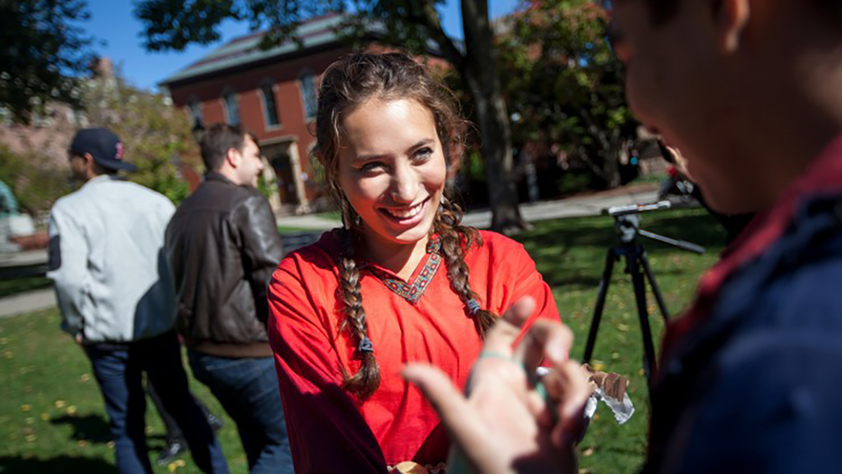Ruth Miller attends Brown University's first Indigenous People's Day celebration as a sophomore in 2016.   Nick Dentamaro / Brown University