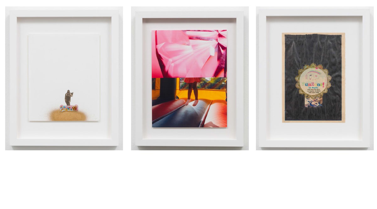 "Sadie Barnette ""Untitled (Dog Bone),"" ""Untitled (Bouncy Castle),"" and ""Untitled (Funzone),"" 2015. All 15 x 12 ½ in. 