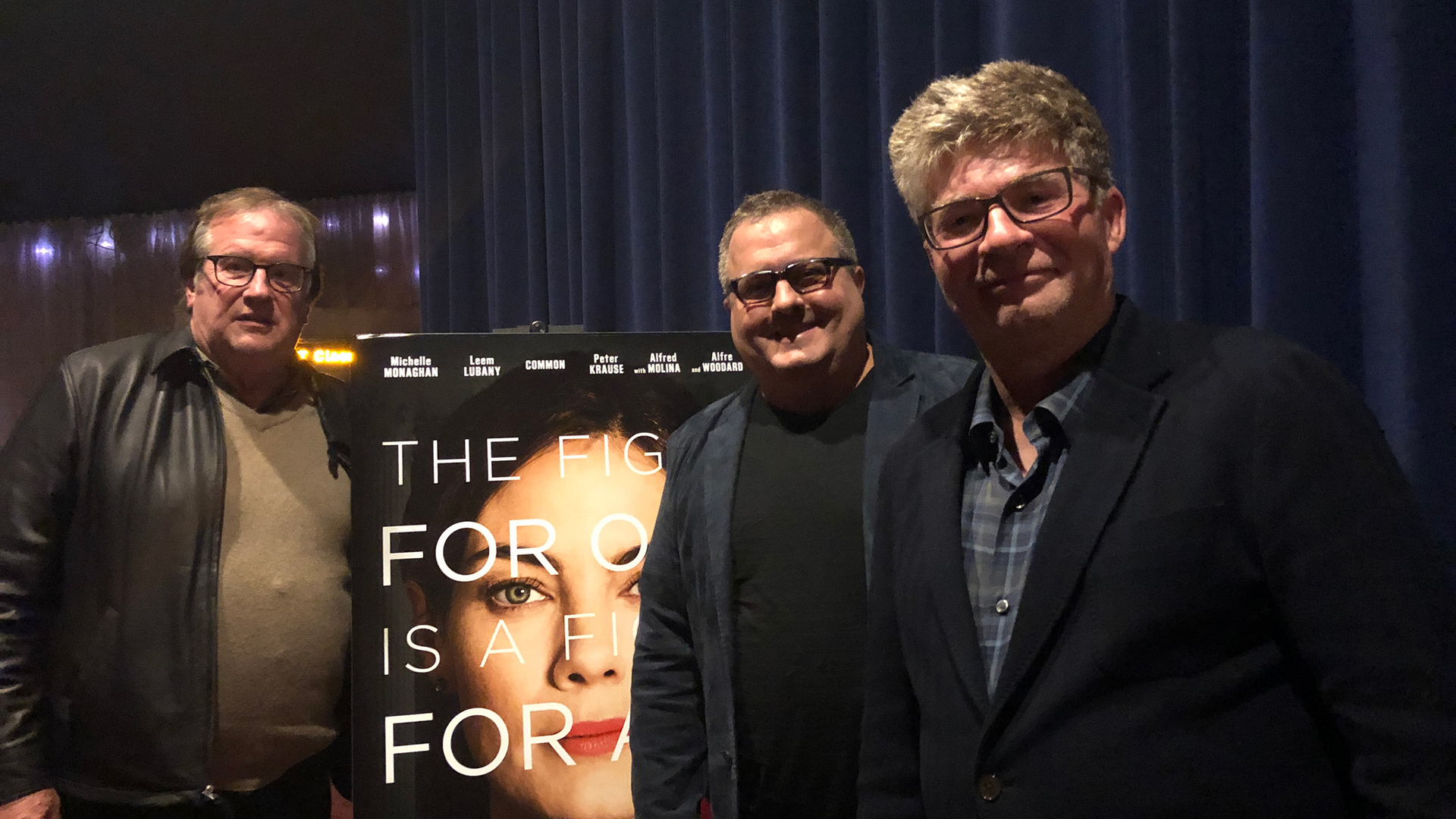 """Cinema Series host Pete Hammond with Director Sean Hanish and Writer Dmitri Portnoy after a screening of """"Saint Judy"""""""