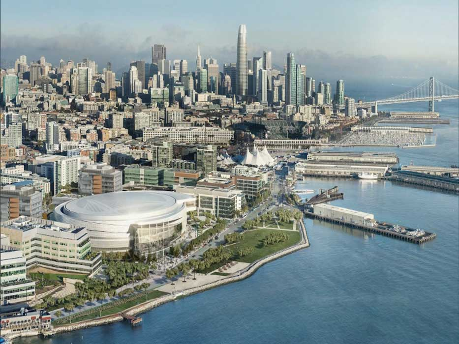 A rendering of the new Chase Center Arena under construction in the Mission Bay neighborhood of San Francisco. | Fair Use