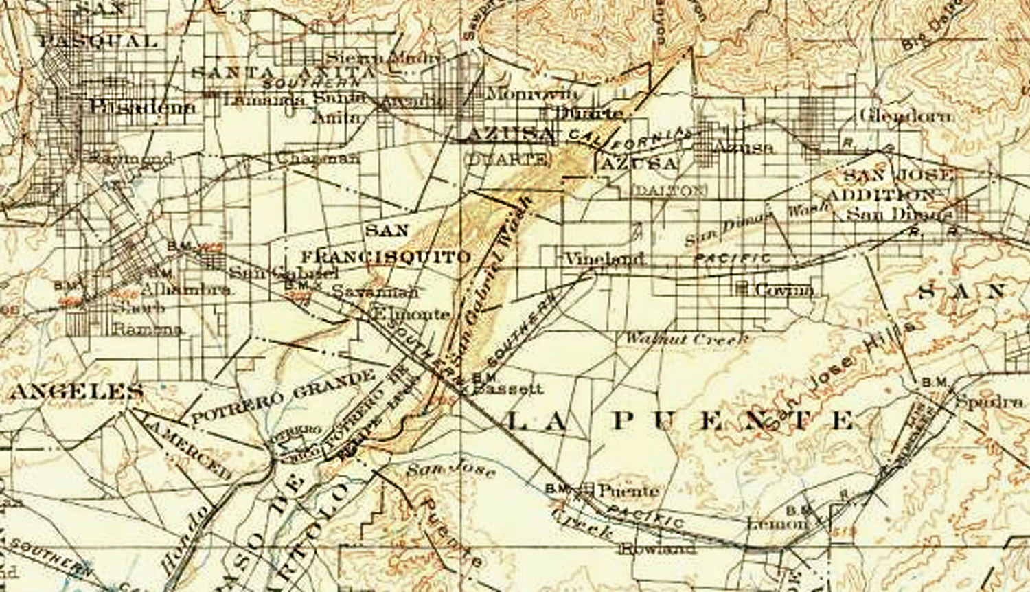 Map of the San Gabriel Wash in 1900 courtesy of the US Geological Survey Historical Topographic Maps