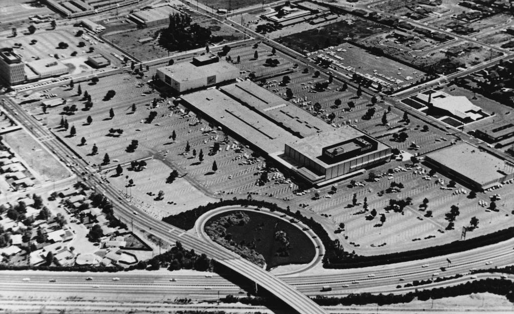Anaheim's Broadway Shopping Center, seen here circa 1963, was located next to a freeway off-ramp.