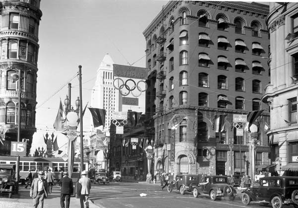 Downtown Los Angeles as decorated for the 1932 Olympics photographed by W.C. Sawyer, courtesy of Sherman Library and Gardens