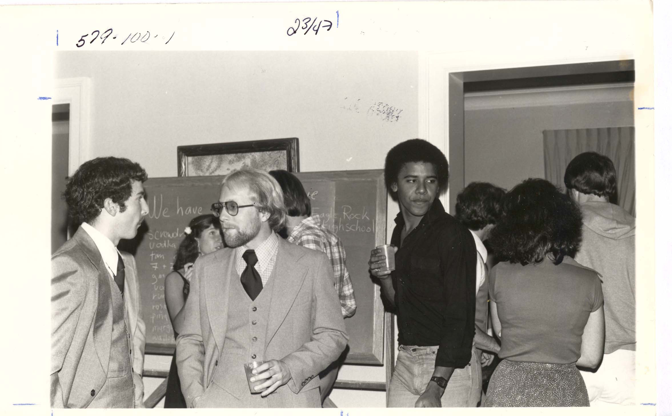 Occidental students Mike Malouf, Bill Knudson, and Barack Obama, circa 1980. Courtesy of Occidental College Archives.