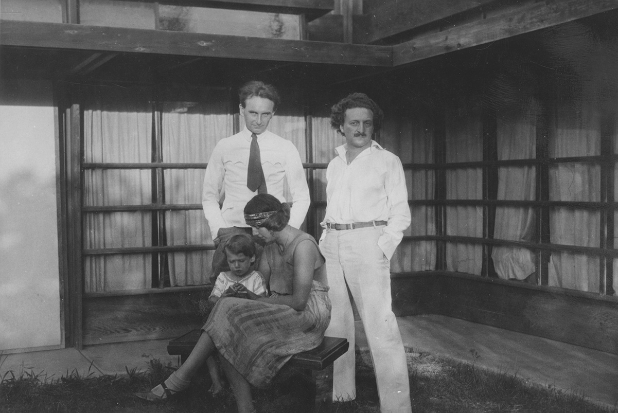 Clockwise from top left: Richard Neutra, R.M. Schindler, Dione Neutra, and Dion Neutra, at the Kings Road house they briefly shared, West Hollywood, California. | R. M. Schindler papers, University of California, Santa Barbara