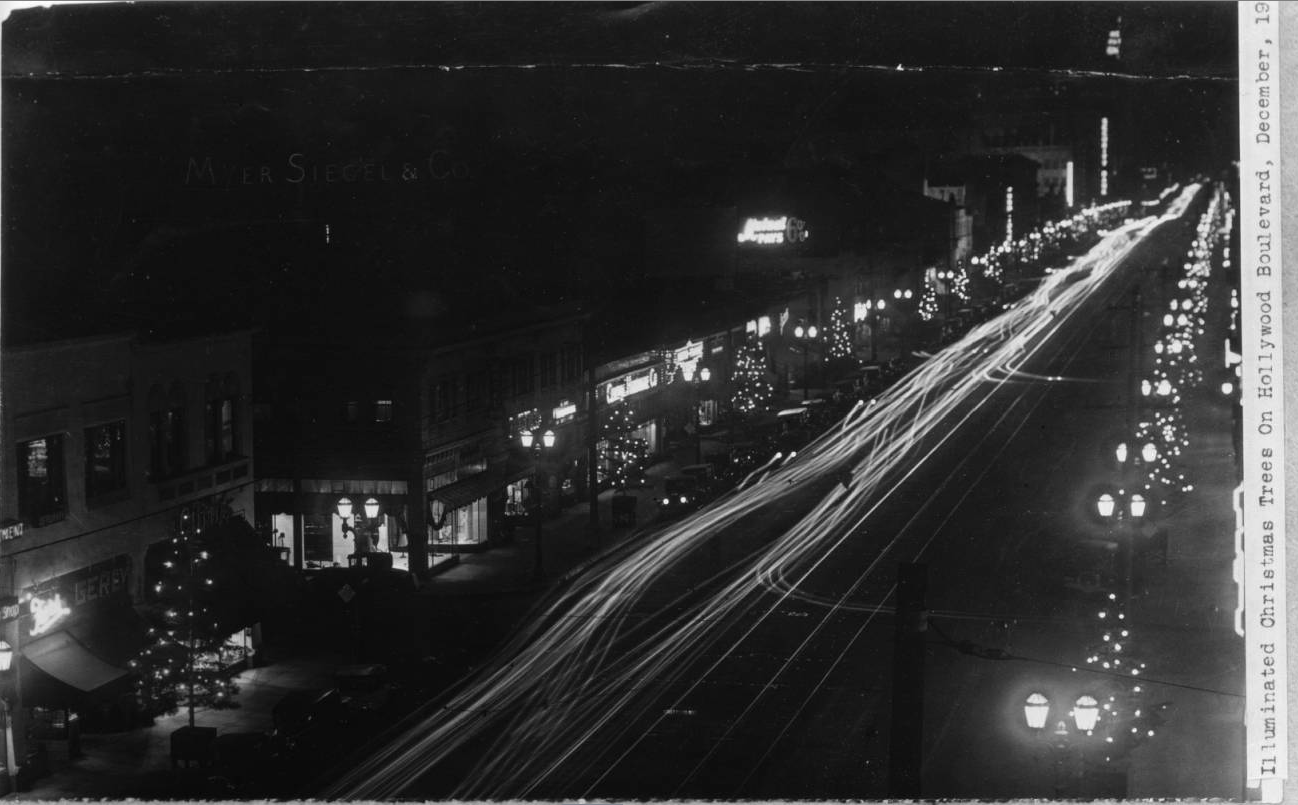 In 1928, the first year Hollywood merchants organized Santa Claus Lane, live fir trees were transplanted from Big Bear. Courtesy of the California Historical Society Collection, USC Libraries.