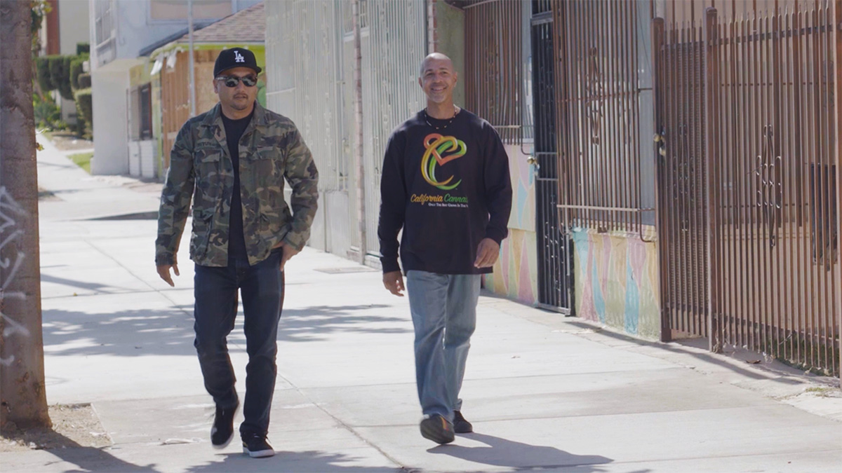 "Virgil Grant walks with Roy Choi | Still from ""Broken Bread"""