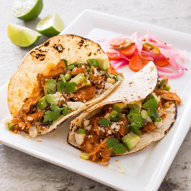Weekend Recipe Shredded Chicken Tacos Tinga De Pollo Link Tv