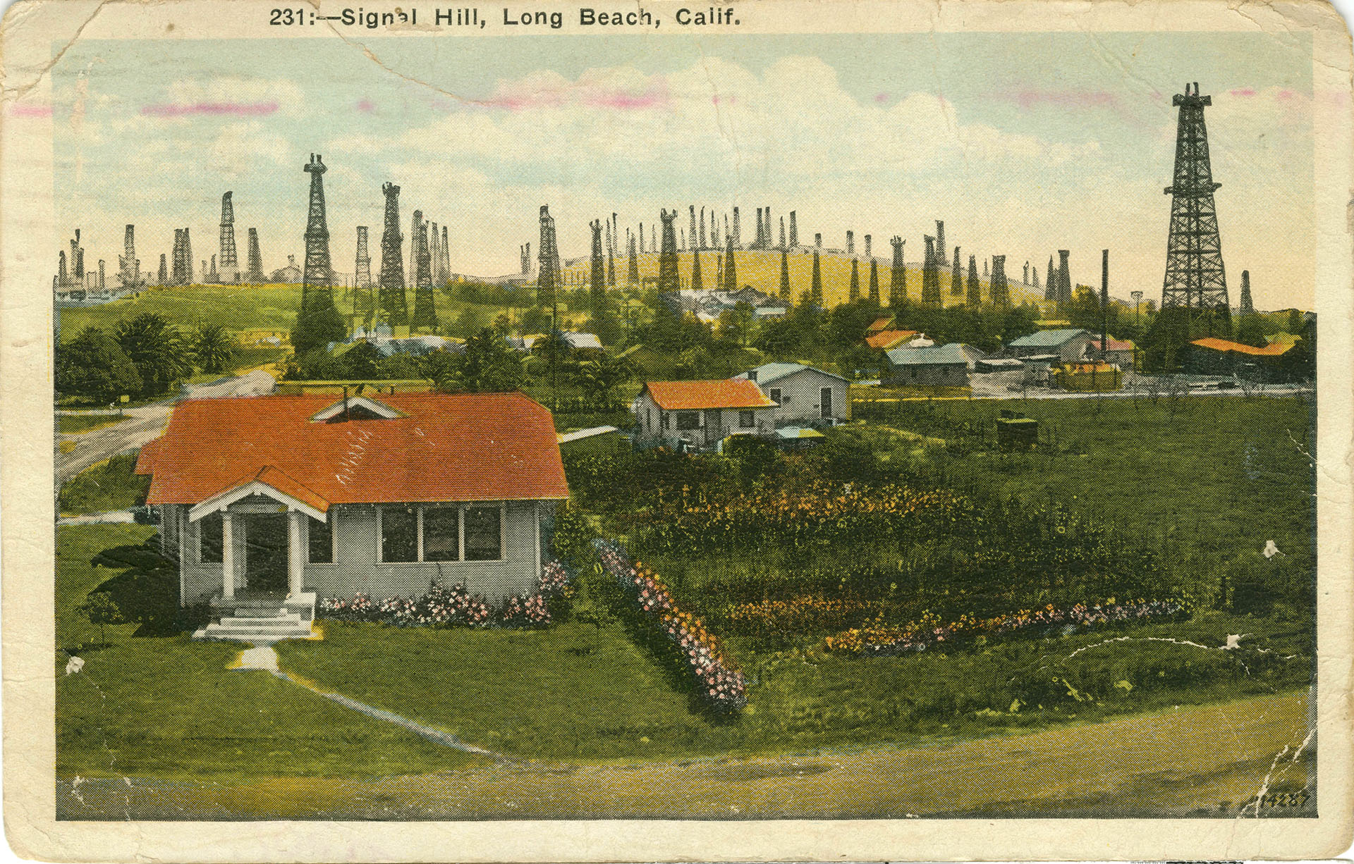 Circa 1941 postcard of the Signal Hill oil field. Courtesy of the Werner Von Boltenstern Postcard Collection, Loyola Marymount University Library.