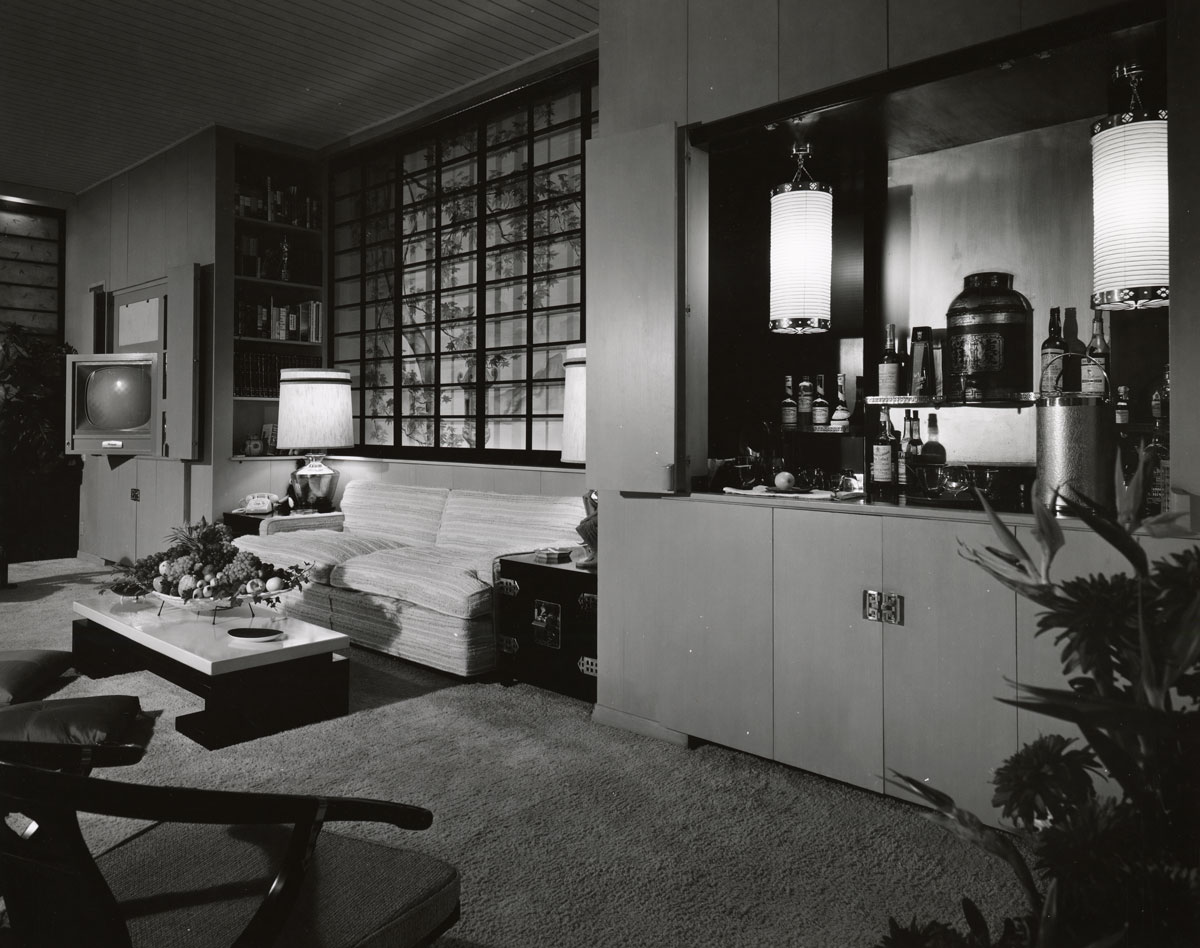 Living and bar area of the Frank Sinatra Residence by Paul R. Williams | Mott-Merge Collection, California State Library (