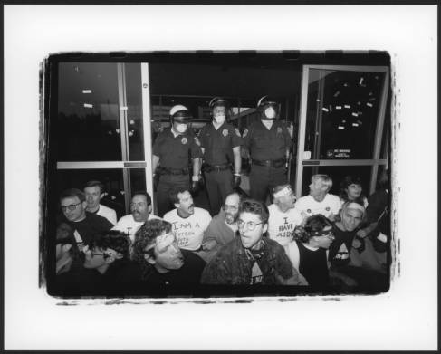 Activists conduct a sit-in at the Federal Building in Westwood, Los Angeles. October 6, 1989. ACT UP/Los Angeles Records, Coll2011-010, ONE National Gay and Lesbian Archives, Los Angeles, California / By: Chuck Stallard