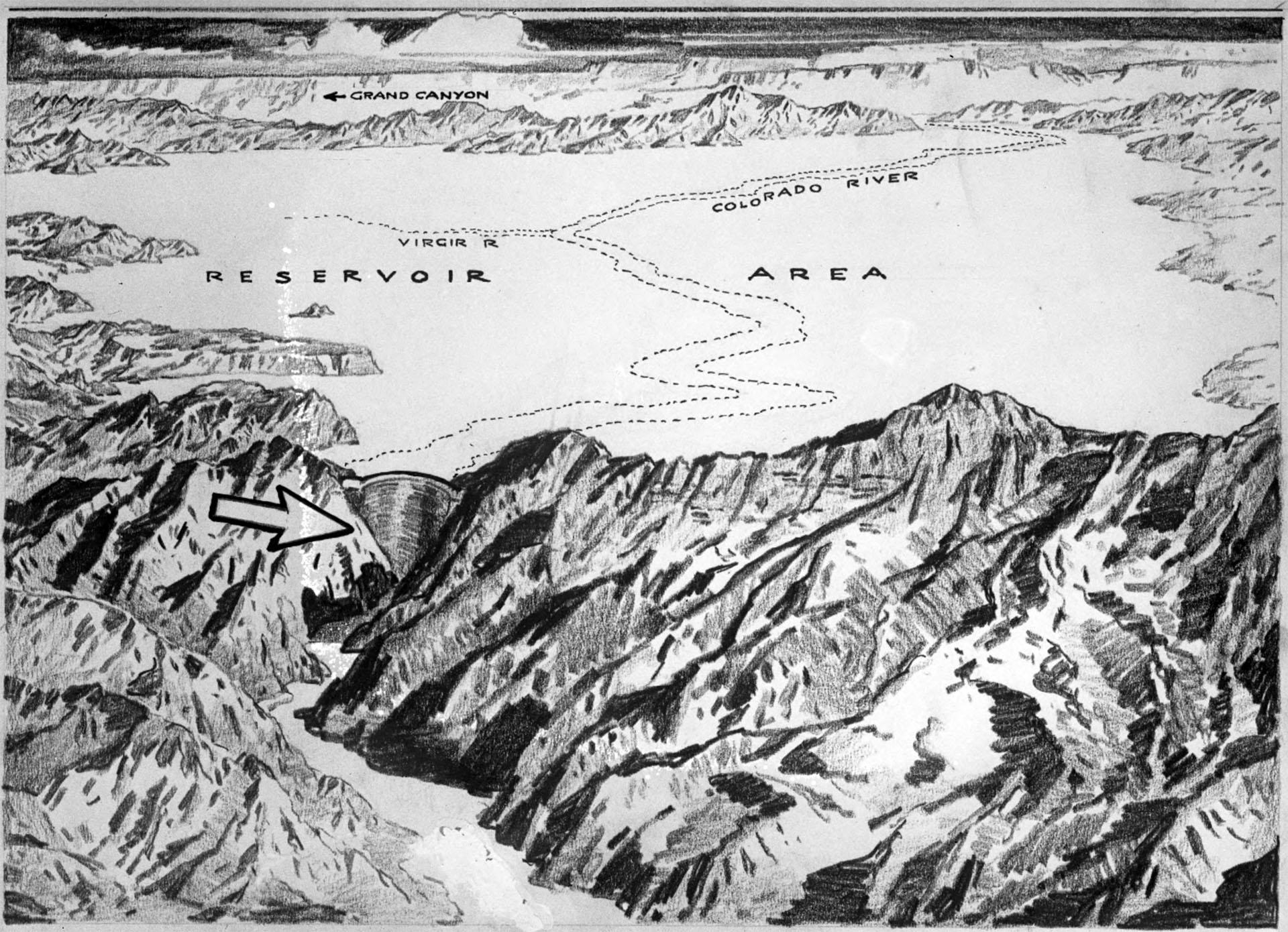 Photo of a sketch of the Boulder [Hoover] Dam site, circa 1921