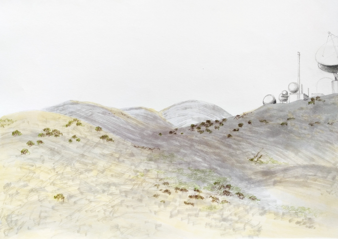Sketch of the Ridge with Laguna Peak Tracking Station, 2016. Marker and pencil on paper | Jena Lee