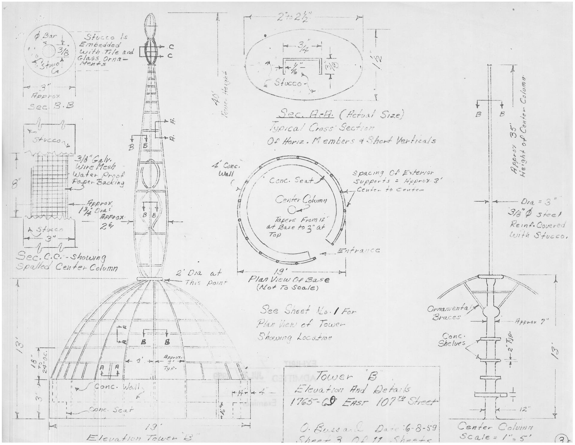 Sketch of Tower B by Oren Ray Bussard, June 1959