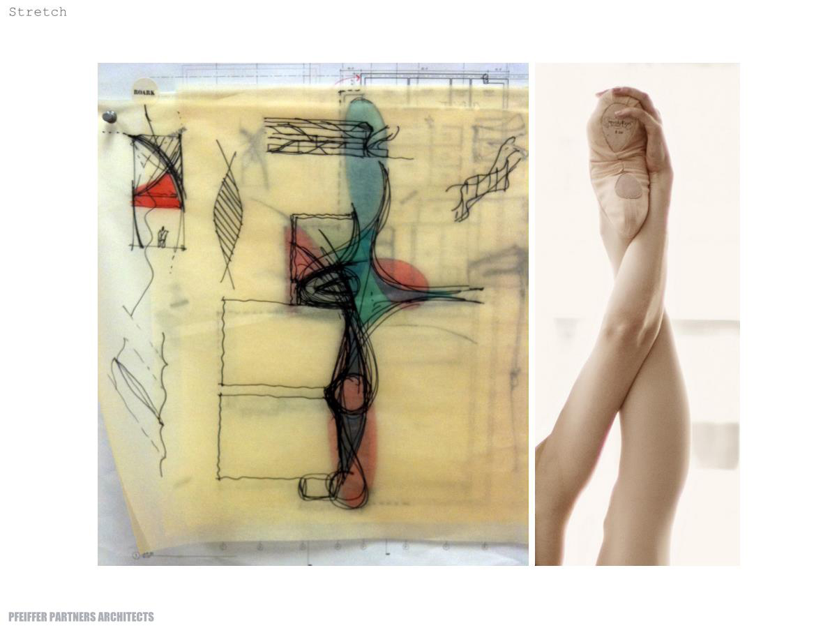 An architectural sketch showing how the Glorya Kaufman International Dance Center's main hallway echoes a dancer's intertwined leg and arm. The photo (right) was initially presented by Glorya Kaufman for inspiration.