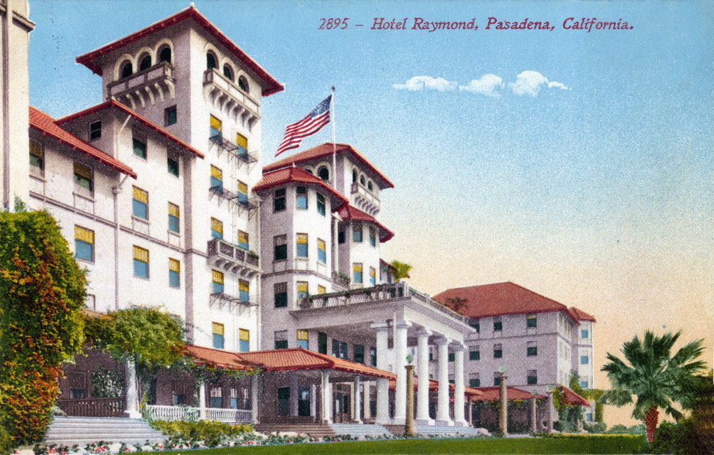 Postcard of the rebuilt Raymond Hotel. Courtesy of the South Pasadena Local History Images Collection, South Pasadena Public Library.