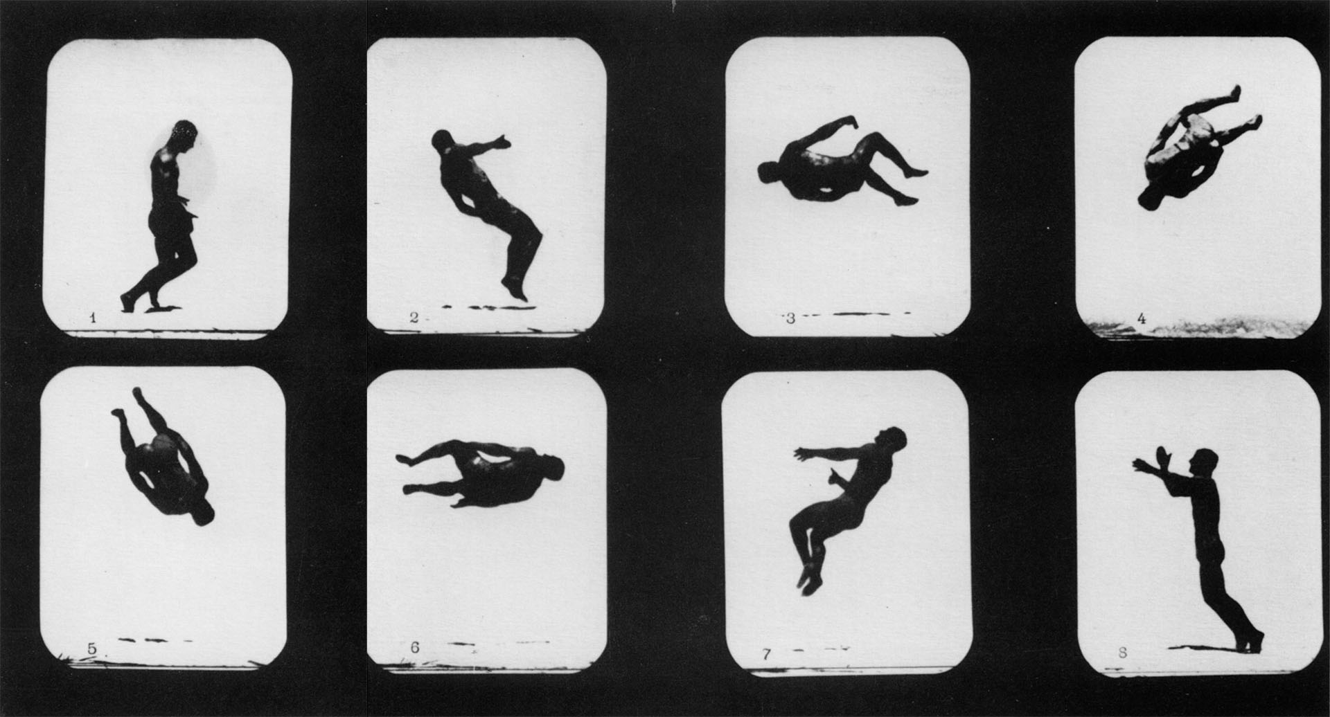 """Mr. Lawton, Back Somersault,"" the first human being to appear in motion pictures. Eadweard Muybridge, Photographs, Stanford University Museum of Art"