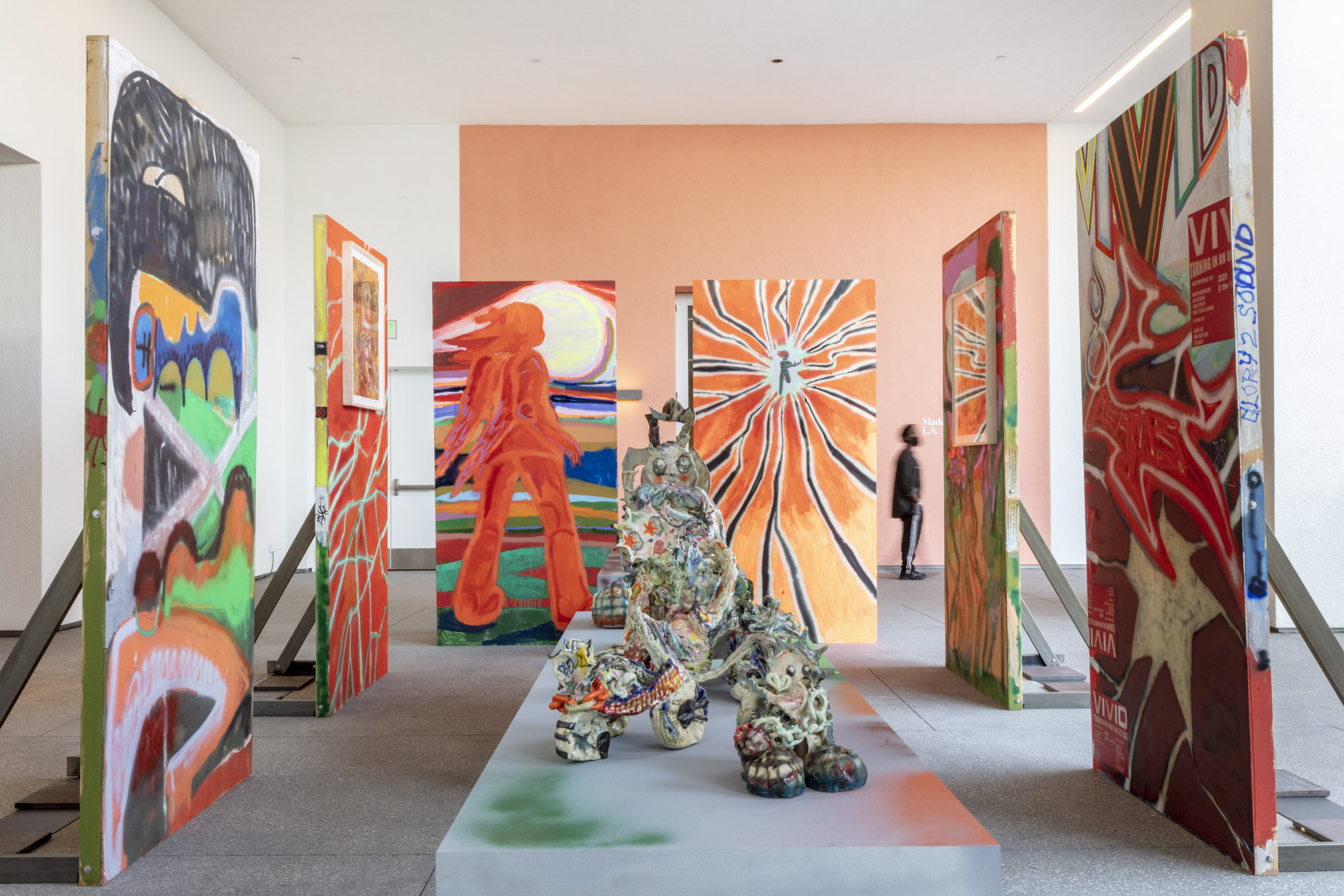 """An installation view of Sonya Sombreuil's work at """"Made in L.A. 2020: a version."""" at Hammer Museum, Los Angeles. 