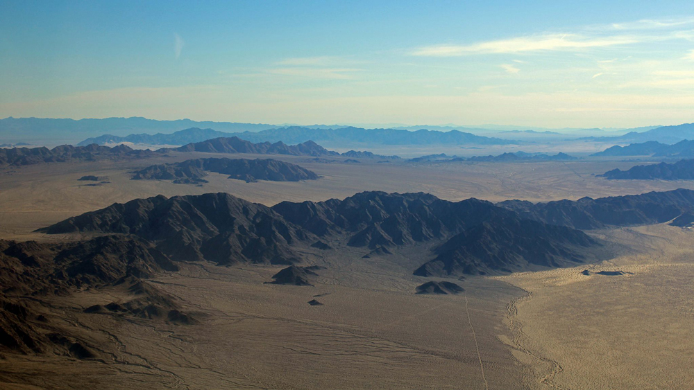 Aerial view eastward across the south end of Mojave Trails NM | Photo: Chris Clarke