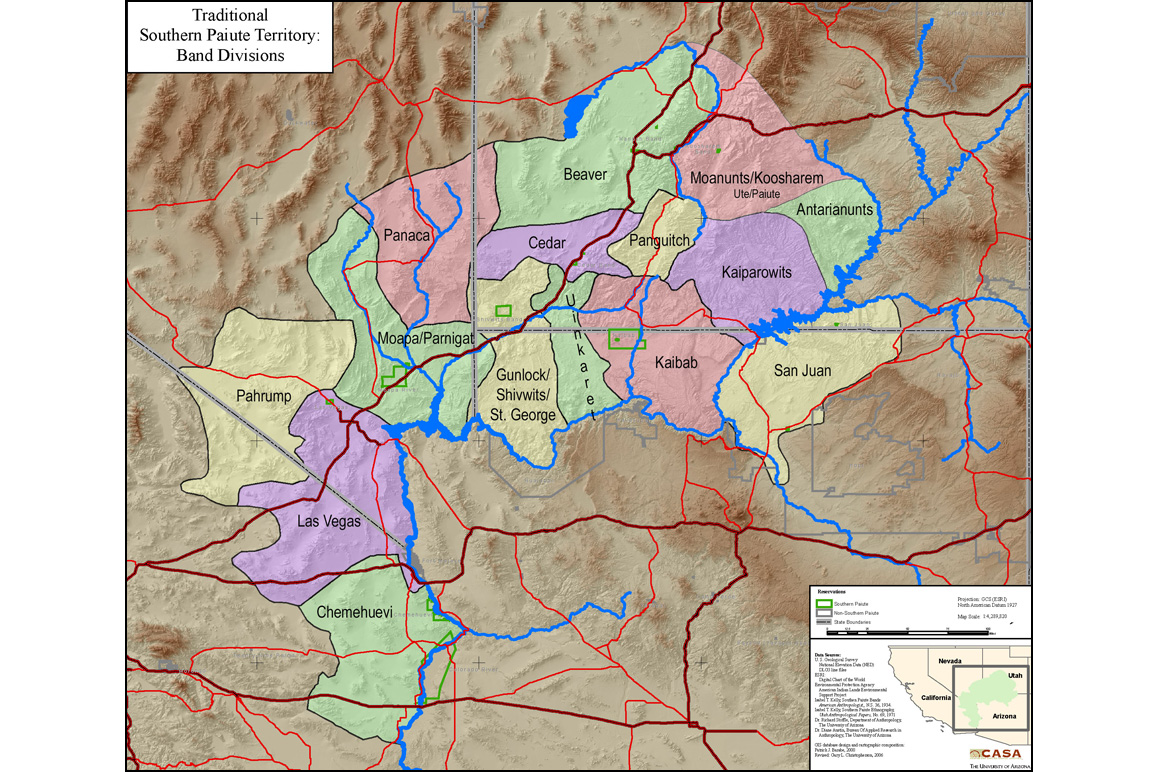 This map shows traditional Southern Paiute territories. Up to thirty-five distinct Paiute bands present during the mid-nineteenth century were consolidated into this representation. Credit: Kaibab Band of Paiute Indians website.