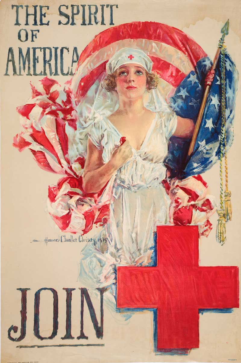Howard Chandler Christy (1873–1952), The Spirit of America—Join, 1919. Lithograph, Boston: Forbes for the American Red Cross | The Huntington Library, Art Museum, and Botanical Gardens