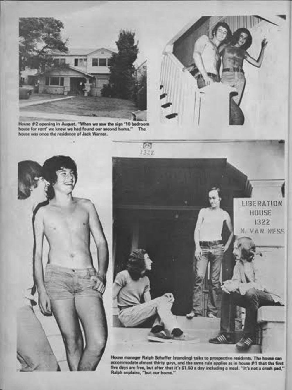 Spree, October 1974. In addition to fliers and GCSC meetings, potential Liberation House residents could encounter the program via pornography and entertainment. ONE National Lesbian and Gay Archives at USC Libraries. Photo by Pat Rocco.