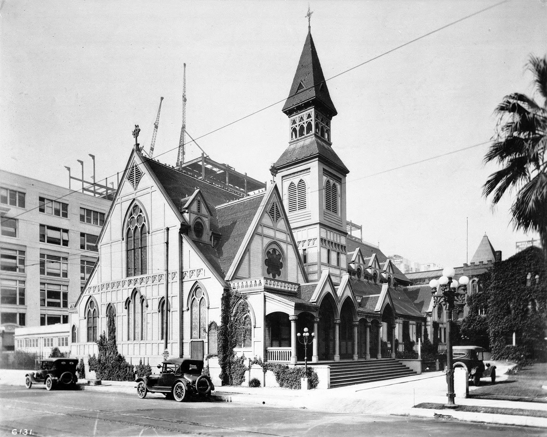 Exterior view of St. Paul's Episcopal Church on the west side of Pershing Square, which is now the present site of the Biltmore Hotel, ca.1920