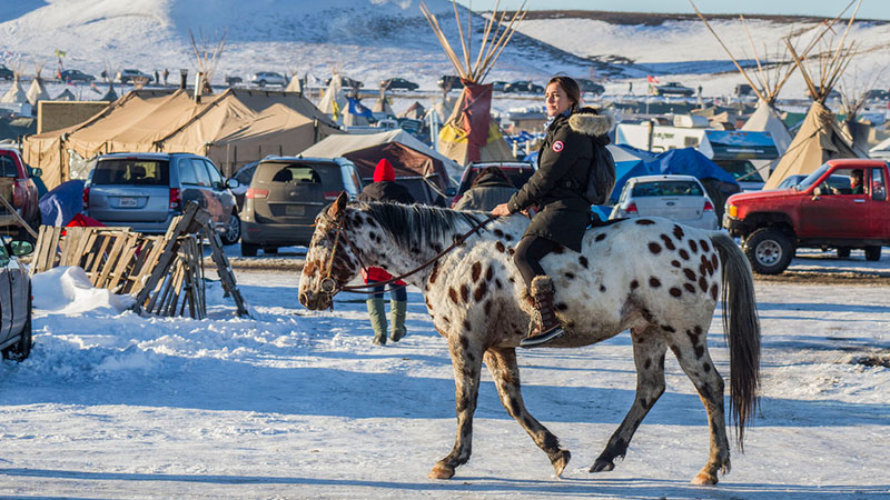 Water Protector rides an Appaloosa at Standing Rock | Photo: Dark Sevier, some rights reserved