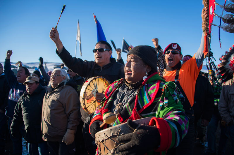 Drumming at Standing Rock to celebrate decision