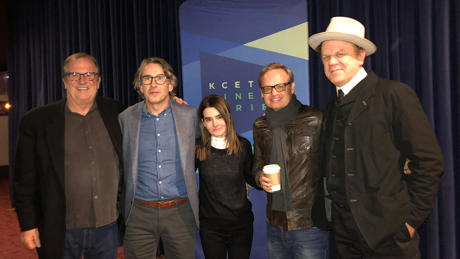 "Cinema Series host Pete Hammond with Actor Steve Coogan, Actor Shirley Henderson, Director Jon S. Baird and Actor John C. Reilly after a screening of ""Stan & Ollie"""