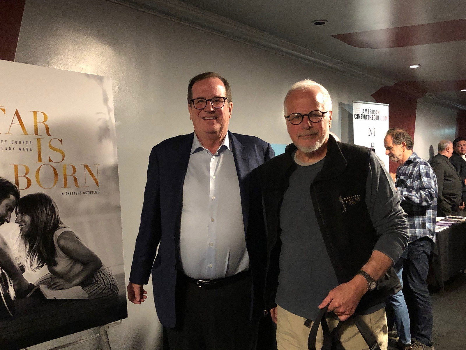 "Cinema Series host Pete Hammond with Editor Jay Cassidy after a screening of ""A Star Is Born"""