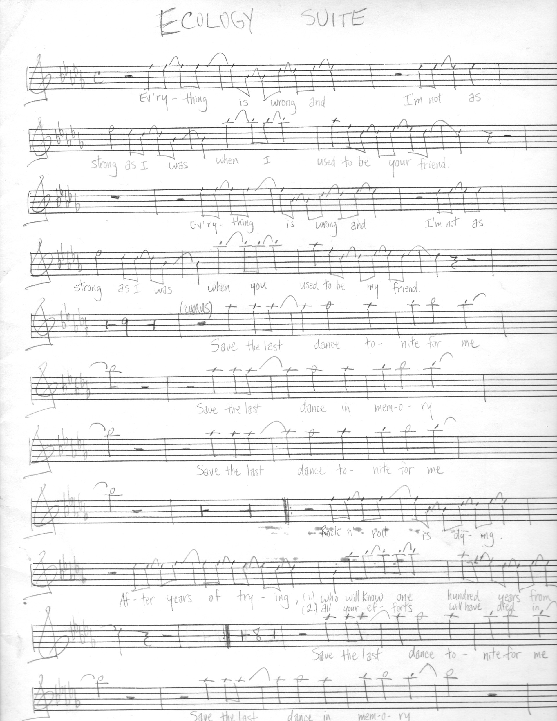 "Music sheet for ""Ecology Suite"" by Steven J. Salazar."