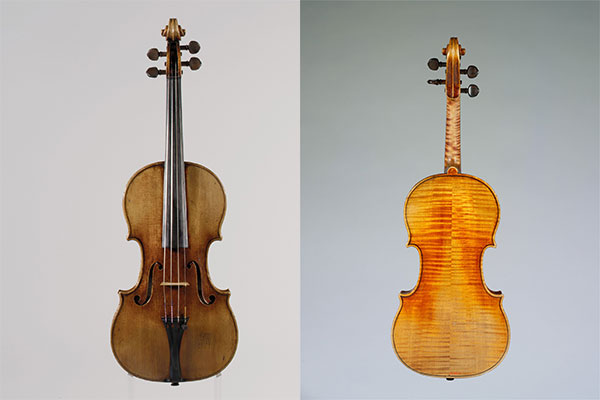 "Front and back of ""The Antonius"" Violin by Antonio Stradivari, 1711. 