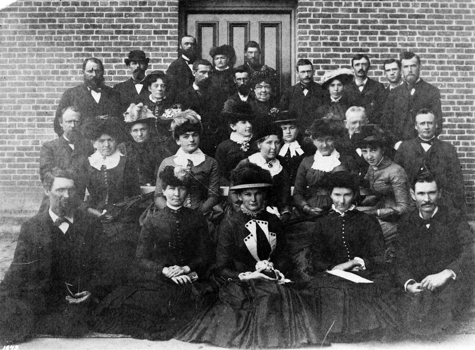 Students and faculty outside the State Normal School in 1884